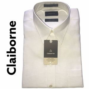 Claiborne White 100% Linen Dress Shirt NWT 16.5